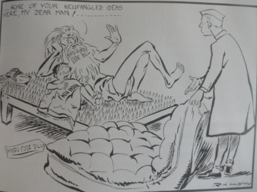 R.K. Laxman's Cartoon on the Opposition to the hotly debated Hindu Code Bill brought by a Nehru led government