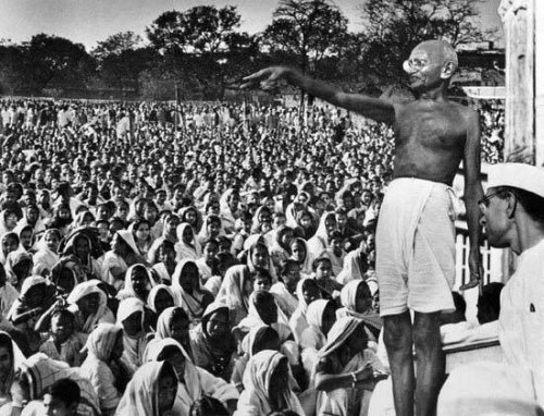 Gandhiji at a Public Meeting